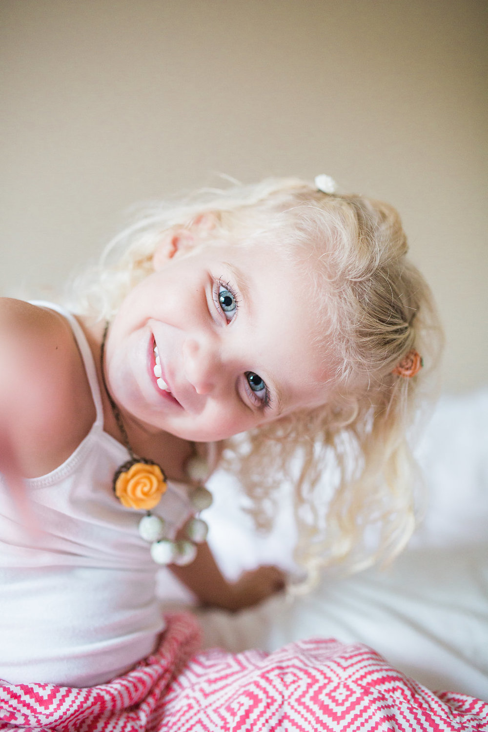 Emma Rose Company   Lifestyle Photographer   Seattle Wedding Photographer   Adorably Toddler on bed   In Home Lifestyle Session   Family Photography   Family photo shoot   Adorable Toddler Blonde Curls   Mastin Labs