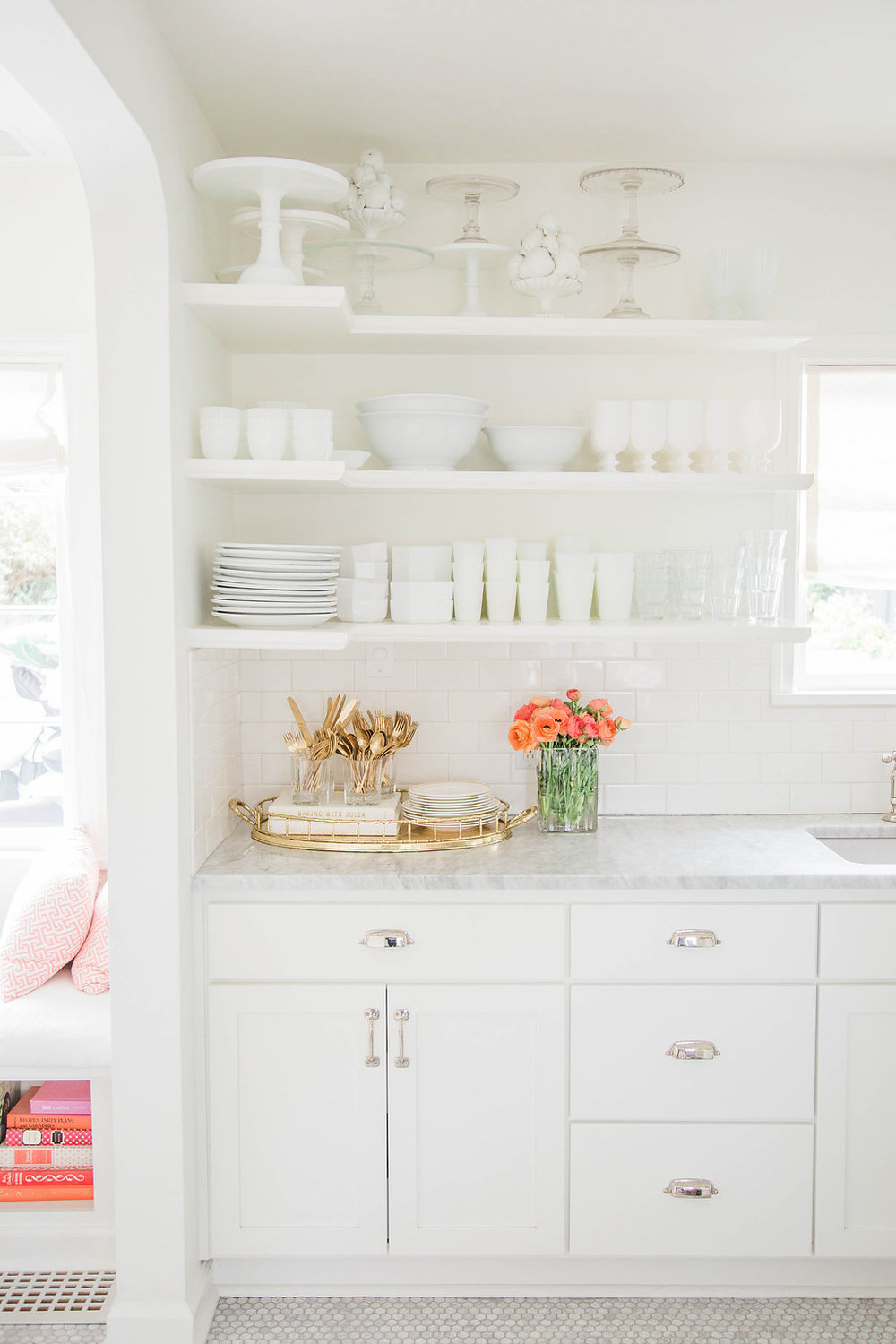 Kitchen Goals | Dream White Kitchen | Dream Home Tour | White Open Shelving | Stunning Kitchen | As Featured in Style Me Pretty | SMP Living