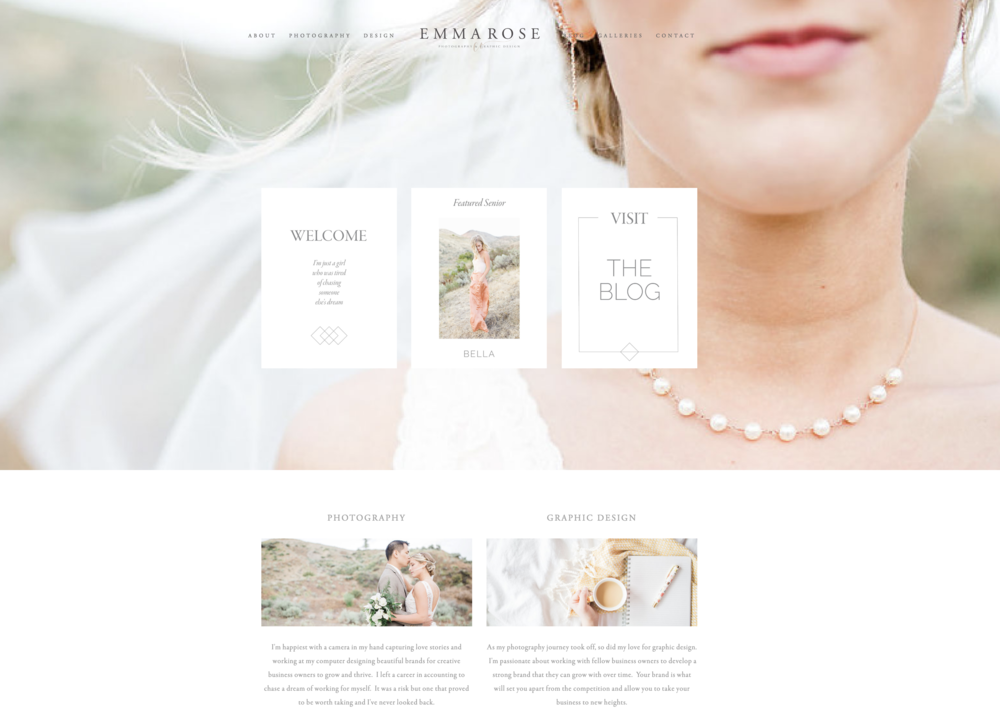 Emma Rose Company | Homepage Screenshot | What Your Photography Website Needs to Stand Out