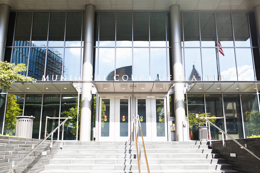 Seattle Courthouse Wedding | Seattle Municipal Court | Downtown Seattle Wedding | Intimate Elopement wedding | Seattle Courthouse staircase exterior