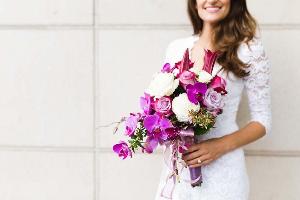 Seattle Courthouse Wedding | Seattle Municipal Court | Downtown Seattle Wedding | Intimate Elopement wedding | Beautiful Purple Bouquet | White Wedding Jumpsuit