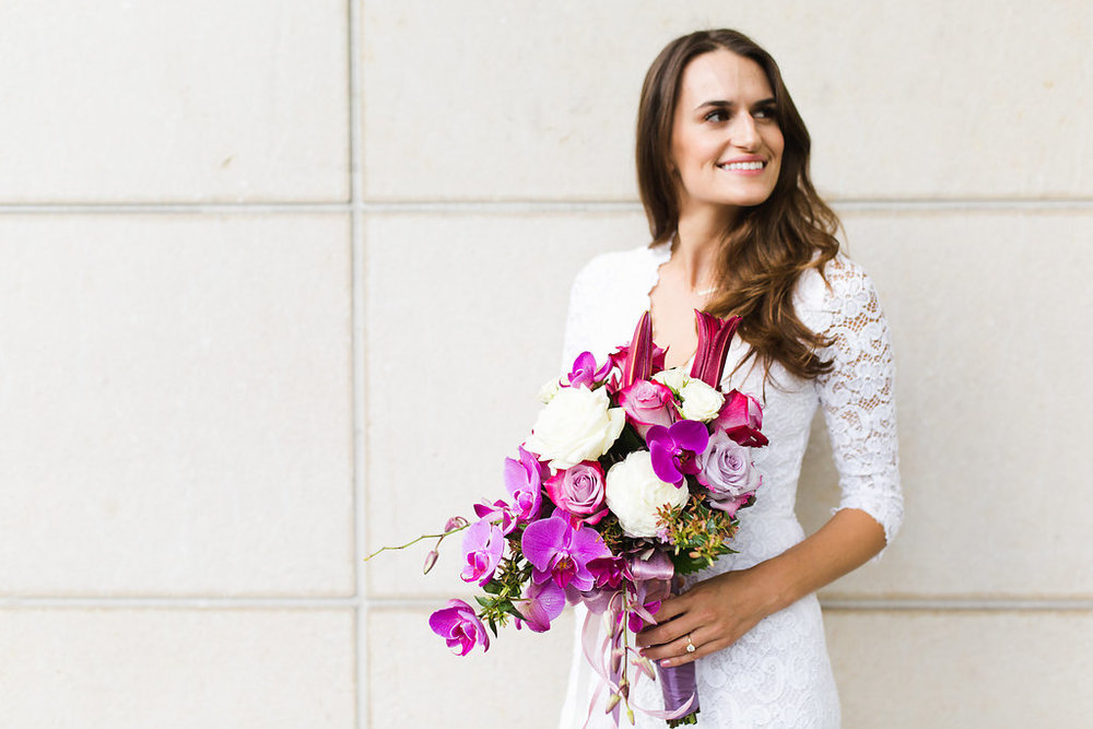 Seattle Courthouse Wedding | Seattle Municipal Court | Downtown Seattle Wedding | Intimate Elopement wedding | Beautiful Purple Wedding Bouquet | White Wedding Jumpsuit Outfit