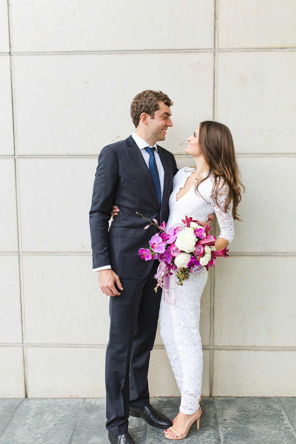 Seattle Courthouse Wedding | Seattle Municipal Court | Downtown Seattle Wedding | Intimate Elopement Wedding | Beautiful Simple Courthouse Wedding | Bride and Groom Portrait | White Wedding Jumpsuit Outfit