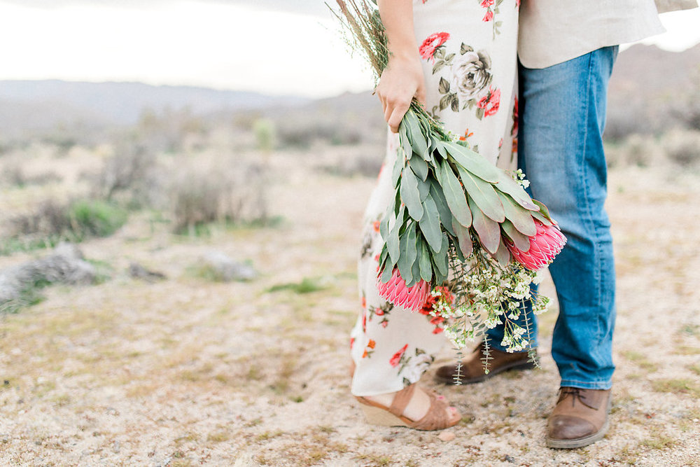Joshua Tree Engagement Session | What to Wear for Pictures | Southern California Wedding Photographer | Mastin Labs Fuji Film | Fine Art Photographer | Desert Shoot | Desert Bouquet.jpg