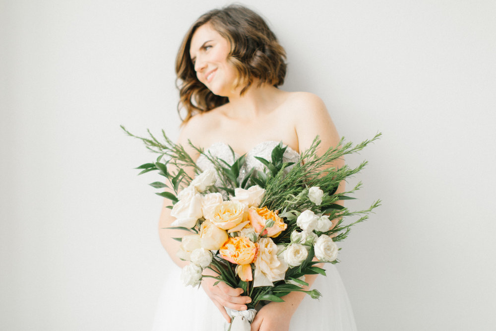 Seattle Fine Art Wedding Photographer | Seattle Downtown White Studio Bridal Session | Stunning Wedding Bouquet | Seattle Bride | Seattle Wedding | Photography Studio Space | Emma Rose Company Wedding Photography-22.jpg