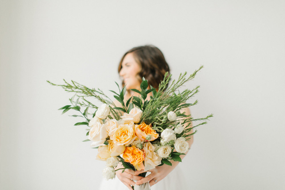 Seattle Fine Art Wedding Photographer | Seattle Downtown White Studio Bridal Session | Stunning Wedding Bouquet | Seattle Bride | Seattle Wedding | Photography Studio Space | Emma Rose Company Wedding Photography-23.jpg