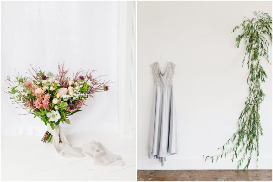 White Studio Inspired Styled Shoot | Emma Rose Company | Vintage Grey Inspired Shoot | VSCO | Rent The Runway | Wedding Bouquet with Mint.jpg