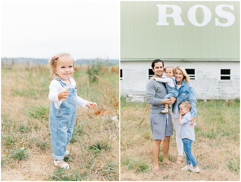 Rose Ranch Family Photo Session | Monika Hibbs Family Session in South Bend, Washington | What to Wear for Family Pictures | Pacific Northwest Family Session with Emma Rose Company | Cute Baby Girl in Overalls.jpg