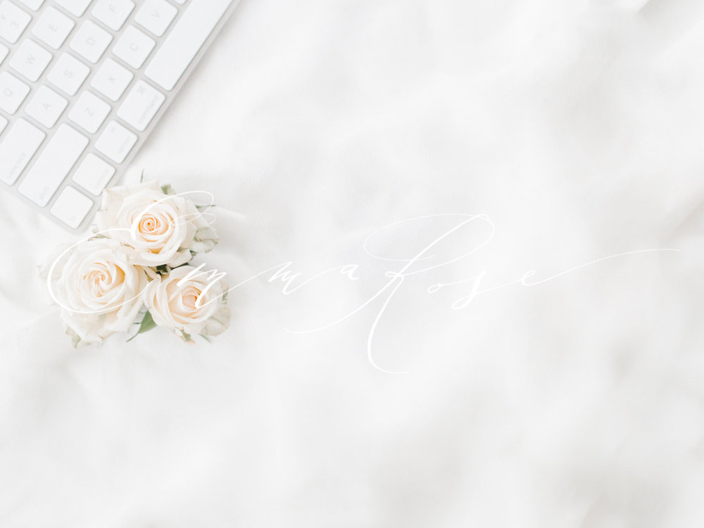 Styled Stock For Marketing   Emma Rose Company   Keyboard And Blush Garden  Roses