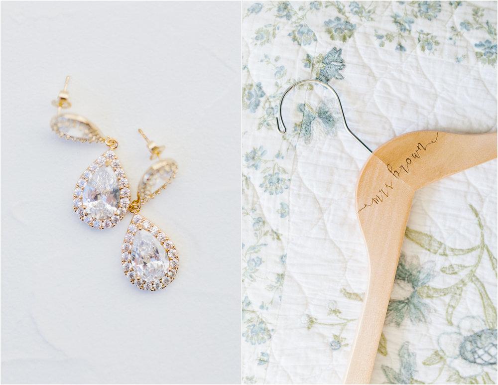 Hampton Hideaway Wedding Wenatchee, Washington | Wedding Details | Custom Wedding Day Hanger | Wedding Day Earrings.jpg