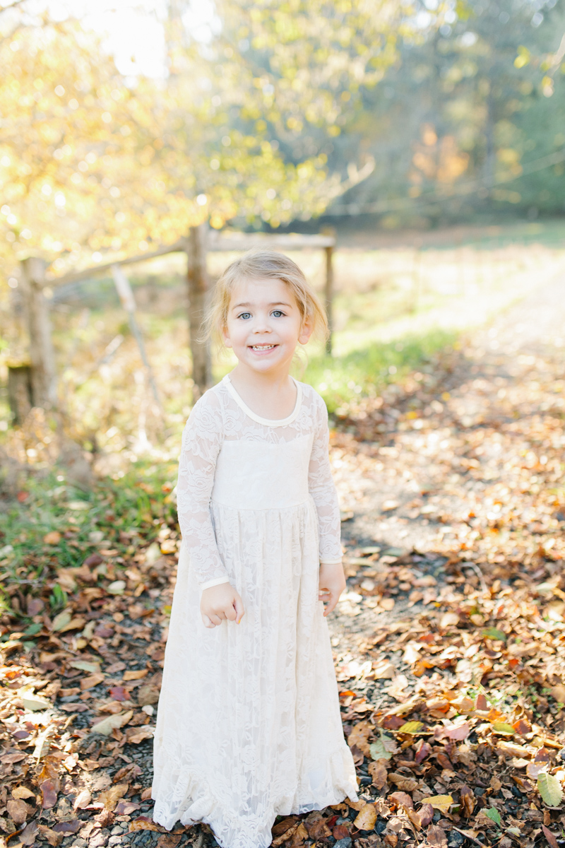 The most perfect fall photo shoot with toddler girl | What to wear to family pictures | Toddler girl in lace dress in woods and fields photo shoot | VSCO | Emma Rose Company | Toddler Outfit Inspiration | Long Lace Dress on Little Girl-25.jpg