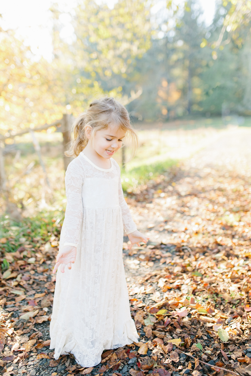 The most perfect fall photo shoot with toddler girl | What to wear to family pictures | Toddler girl in lace dress in woods and fields photo shoot | VSCO | Emma Rose Company | Toddler Outfit Inspiration | Long Lace Dress on Little Girl-26.jpg