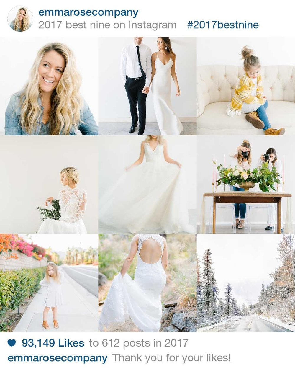 Emma Rose Company 2017 Best Nine | Squarespace Website Designer and Wedding Photographer