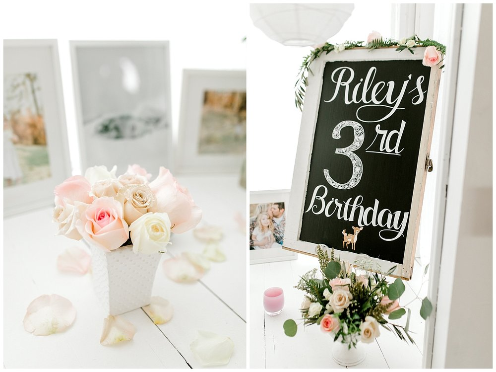The Most Perfect Little Girl's Birthday Party Design | Animal Themed Toddler Birthday | Emma Rose Company | Blush and Grey Roses | Chalkboard Birthday Sign