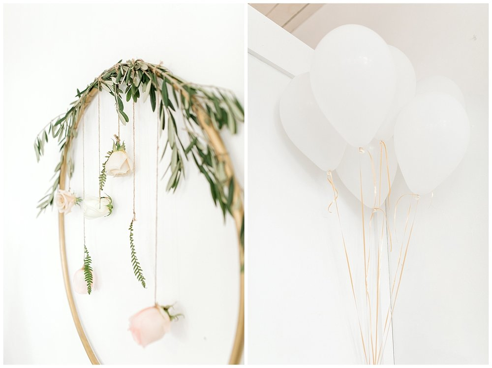 The Most Perfect Little Girl's Birthday Party Design | Animal Themed Toddler Birthday | Emma Rose Company | Blush and Grey Roses | Hula Hoop Floral Design and White Balloons