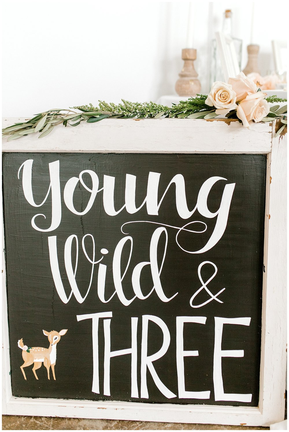 The Most Perfect Little Girl's Birthday Party Design | Animal Themed Toddler Birthday | Emma Rose Company | Blush and Grey Roses | Young Wild and Three Chalkboard sign