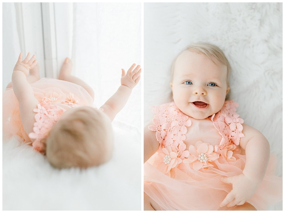 The Sweetest Six Month Old Studio Session | Emma Rose Company | Seattle Lifestyle Photographer Smiling Baby Photo Session Peach Dress.jpg