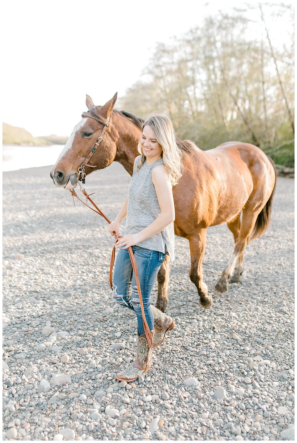 Sunset Senior Session with Horse | Senior Session Inspiration Session | Horse Photo Session | Pacific Northwest Light and Airy Wedding and Portrait Photographer | Emma Rose Company | Kindred Presets Walking with Horse.jpg