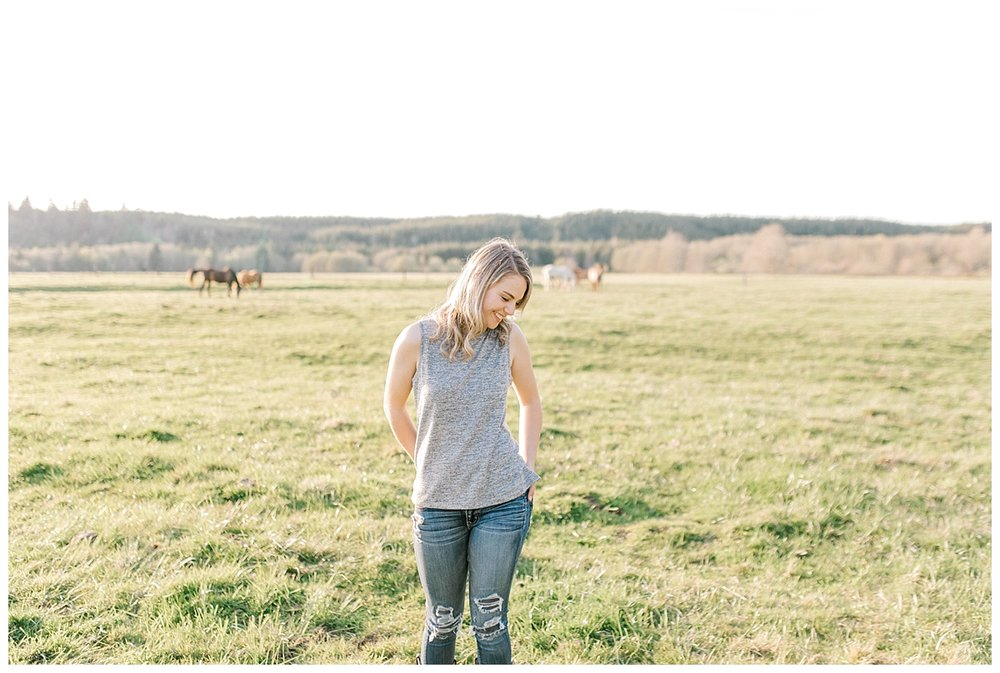 Sunset Senior Session with Horse | Senior Session Inspiration Session | Horse Photo Session | Pacific Northwest Light and Airy Wedding and Portrait Photographer | Emma Rose Company | Kindred Presets Greenery.jpg