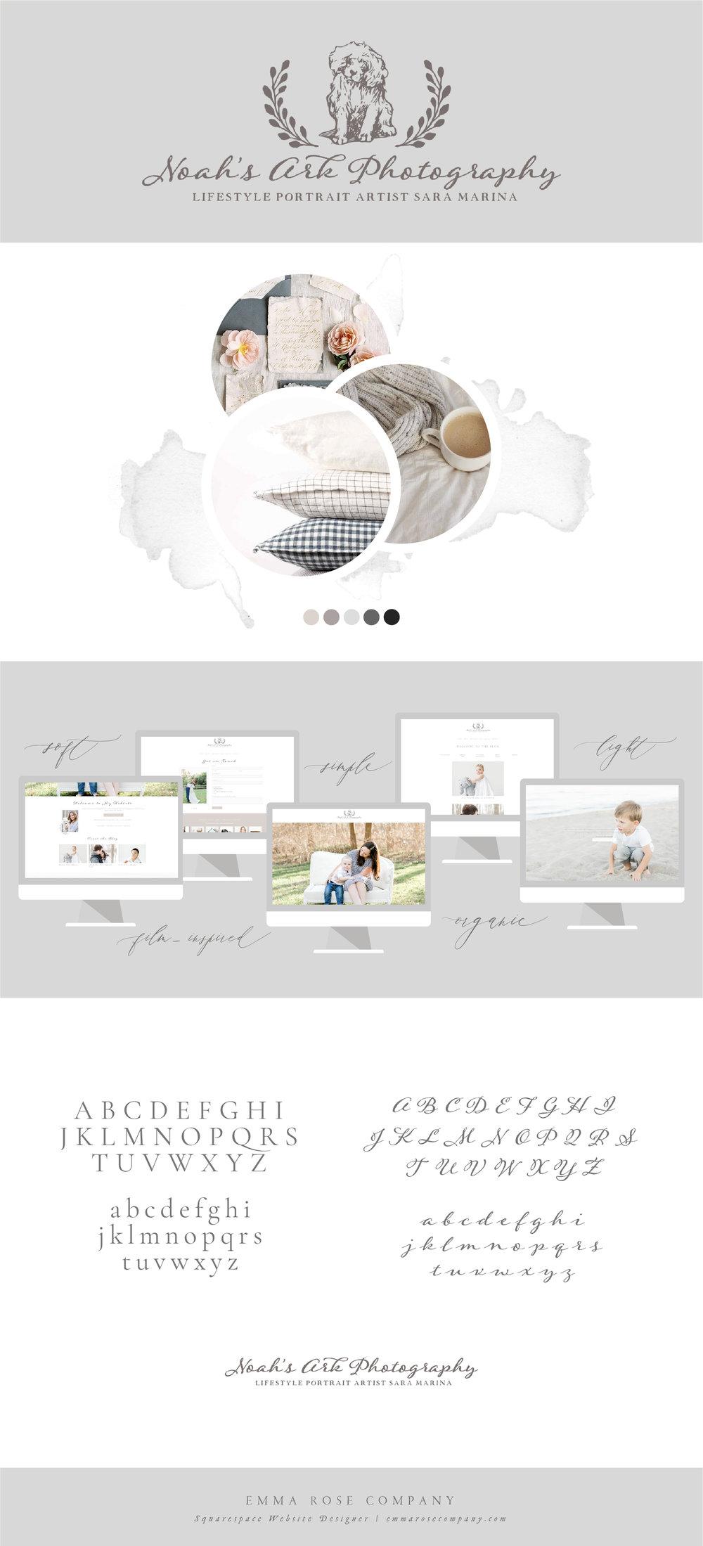 Noah's Ark Photography | ERC Project Showcase | Branding Board Inspiration | Squarespace Website Designer for Photographers