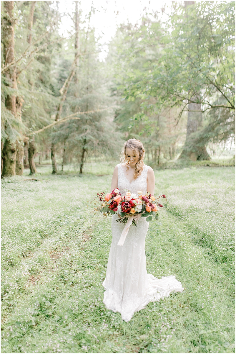 Pacific Northwest Elopement on Rose Ranch | Emma Rose Company Seattle and Portland Wedding Photographer | Engaged | Lace Wedding Gown | Peonie and ranunculus bouquet-5.jpg