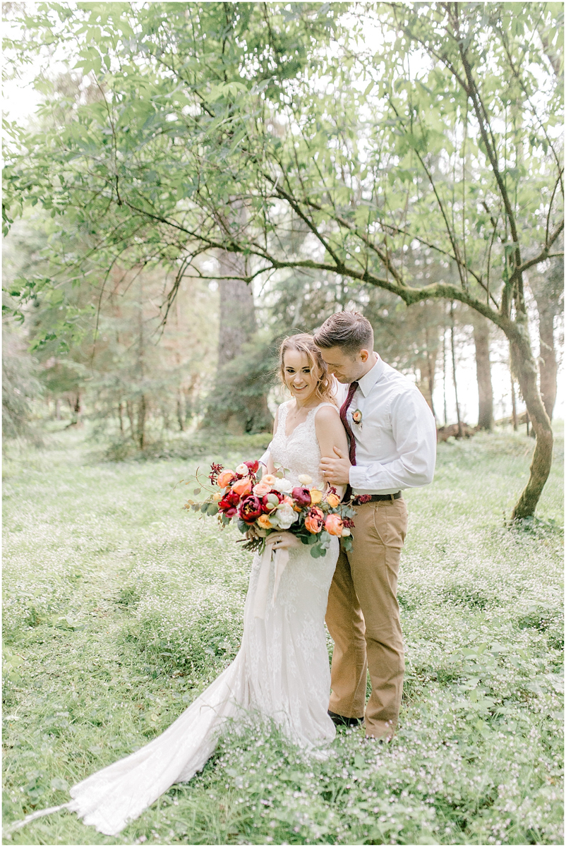 Pacific Northwest Elopement on Rose Ranch | Emma Rose Company Seattle and Portland Wedding Photographer | Engaged | Lace Wedding Gown | Peonie and ranunculus bouquet-11.jpg