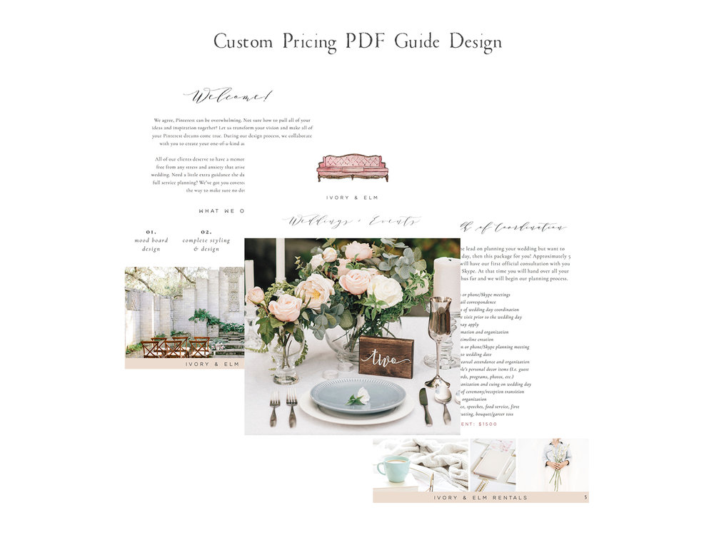 Ivory and Elm Events is a wedding planning and rental company with a custom Squarespace website design by Emma Rose Company. #mauvebranding #weddingplanner #ivoryandelm #emmarosecompany