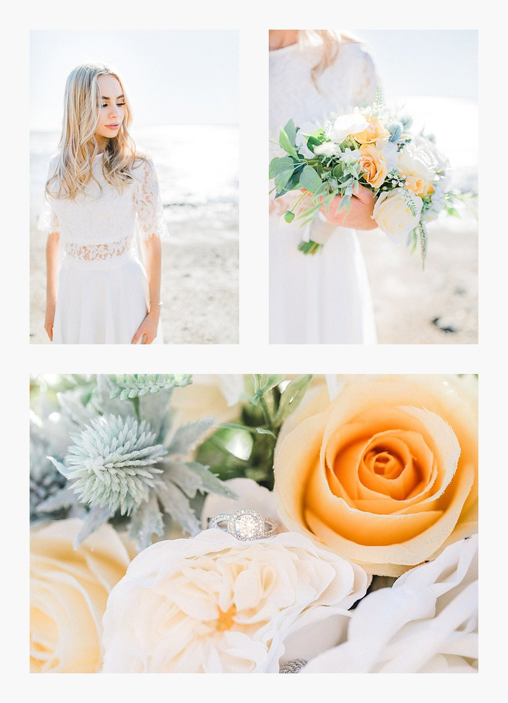 Styled bridal portraits on the beach in simple lace wedding skirt and lace top with Emma Rose Company.  Yellow and ivory inspired bridal shoot in the Pacific Northwest._0000.jpg