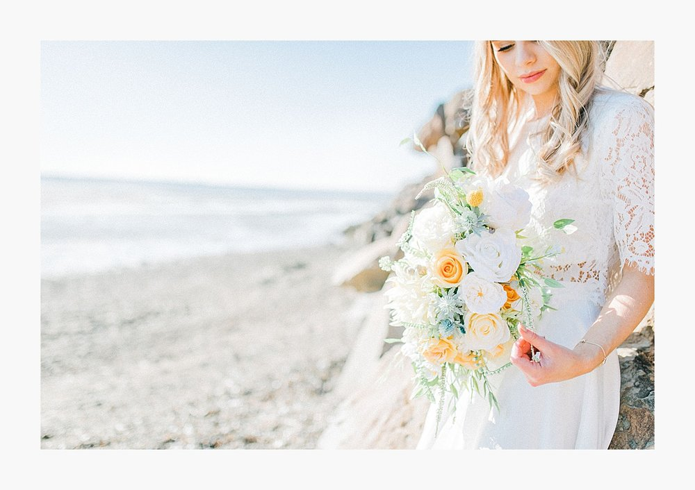Styled bridal portraits on the beach in simple lace wedding skirt and lace top with Emma Rose Company.  Yellow and ivory inspired bridal shoot in the Pacific Northwest._0006.jpg