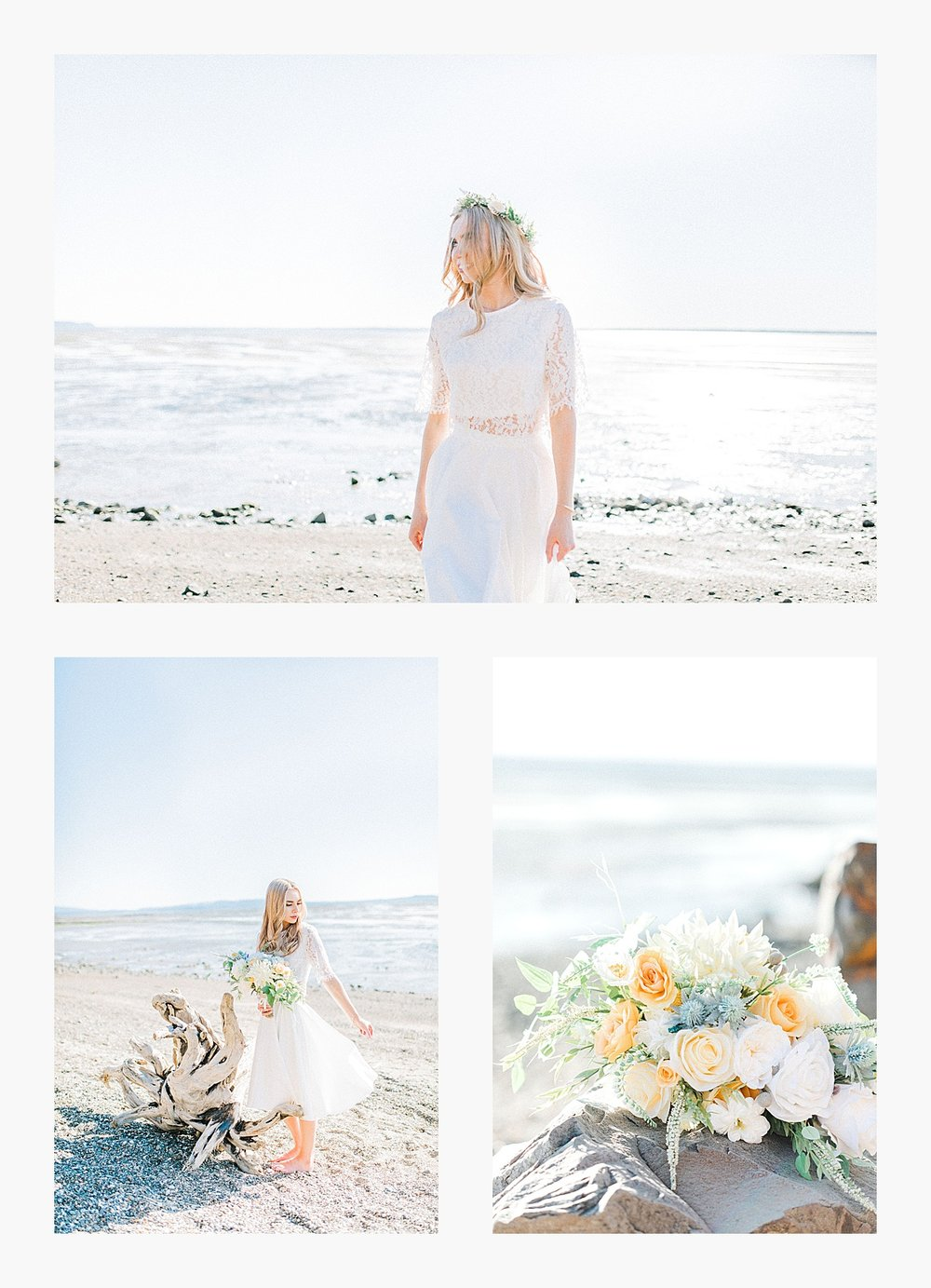 Styled bridal portraits on the beach in simple lace wedding skirt and lace top with Emma Rose Company.  Yellow and ivory inspired bridal shoot in the Pacific Northwest._0009.jpg