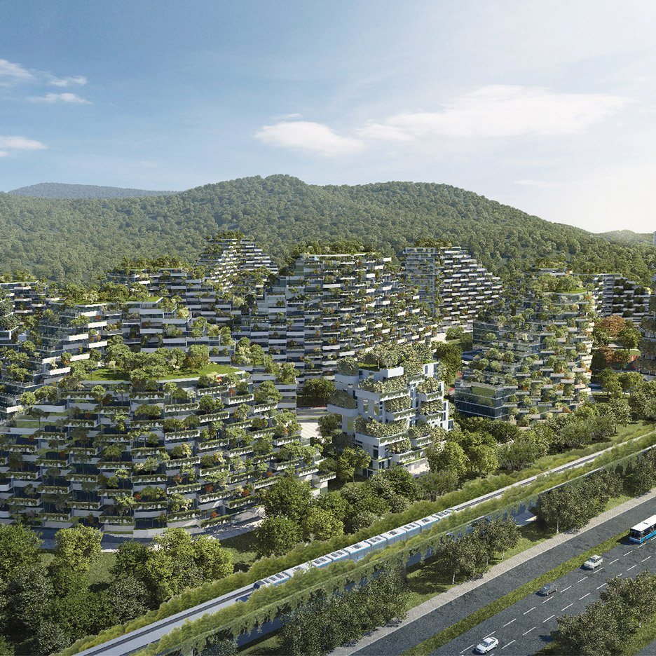 Stefano Boeri's design of 'vertical forest' city in Liuzhou, China to combat smog and pollution. (via  Dezeen )