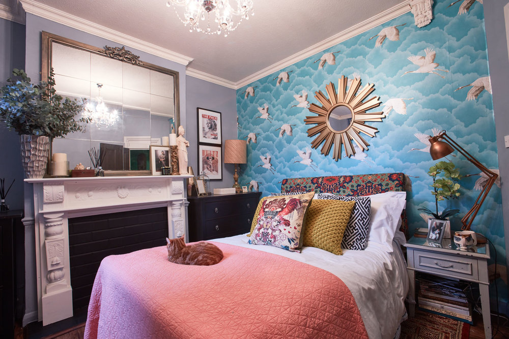 A colourful, cozy bedroom designed by Great Interior Design Challenge Finalist  Oliver Thomas