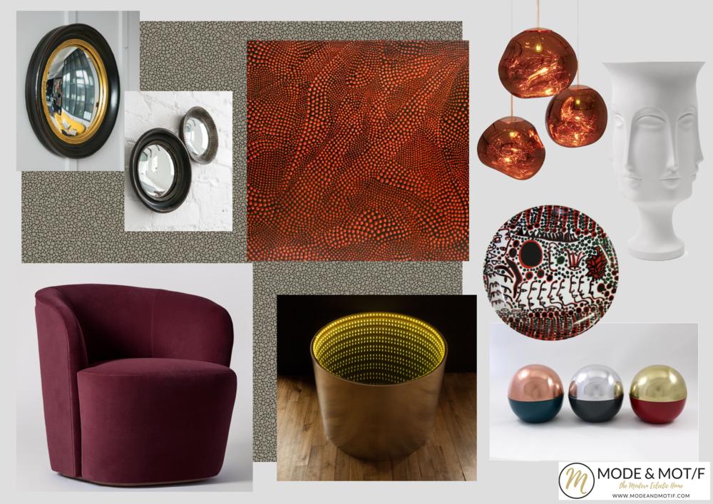 Interiors board inspired by Yayoi Kusama - www.modeandmotif.com