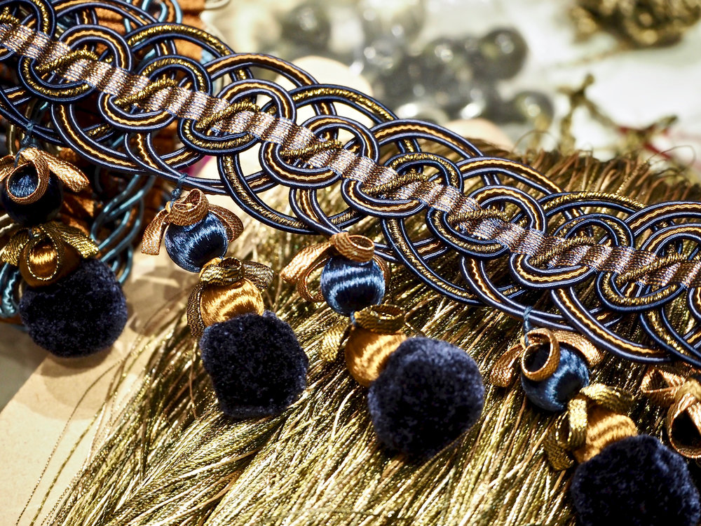 Mesmerising demonstration on passementerie techniques by the artisans at  Wendy Cushing  for  Jason D'Souza .