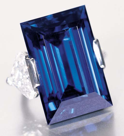 In 1934 John D. Rockefeller bought was what later to be known as the Rockefeller Sapphire. It is a 62.02 carat faceted blue sapphire, in a rectangular step cut, mounted in a diamond ring. The current listing price for this one of a kind sapphire is a cool $3,031,000, but could fetch as much as 5 million at auction!