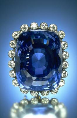 At 423 carats, and about the size of an egg, the Logan Sapphire can be seen at the Smithsonian National Museum of Natural History.  Surrounded by about 16 carats of round-cut diamonds, it is one of the world's largest faceted blue sapphires.  Mrs. John A. (Polly) Logan donated it to the museum in 1960…what a gift!