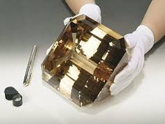At 31,000 carats (6.2kg) the El-Dorado Topaz is the largest faceted gemstone in the world.  This emerald cut yellow topaz was found in Minas Gerais, Brazil.
