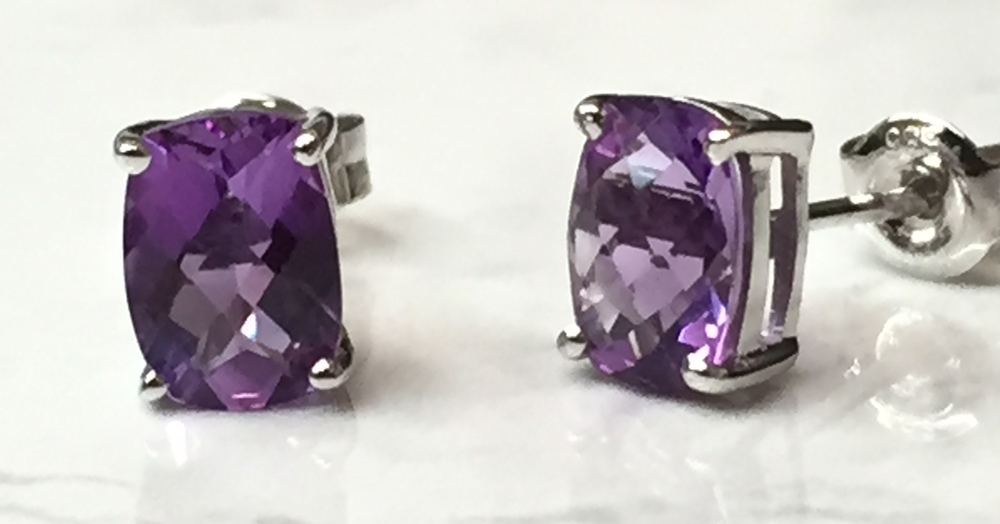 A pair of our amethyst earrings: 14K white gold, post back, on sale for $149.00