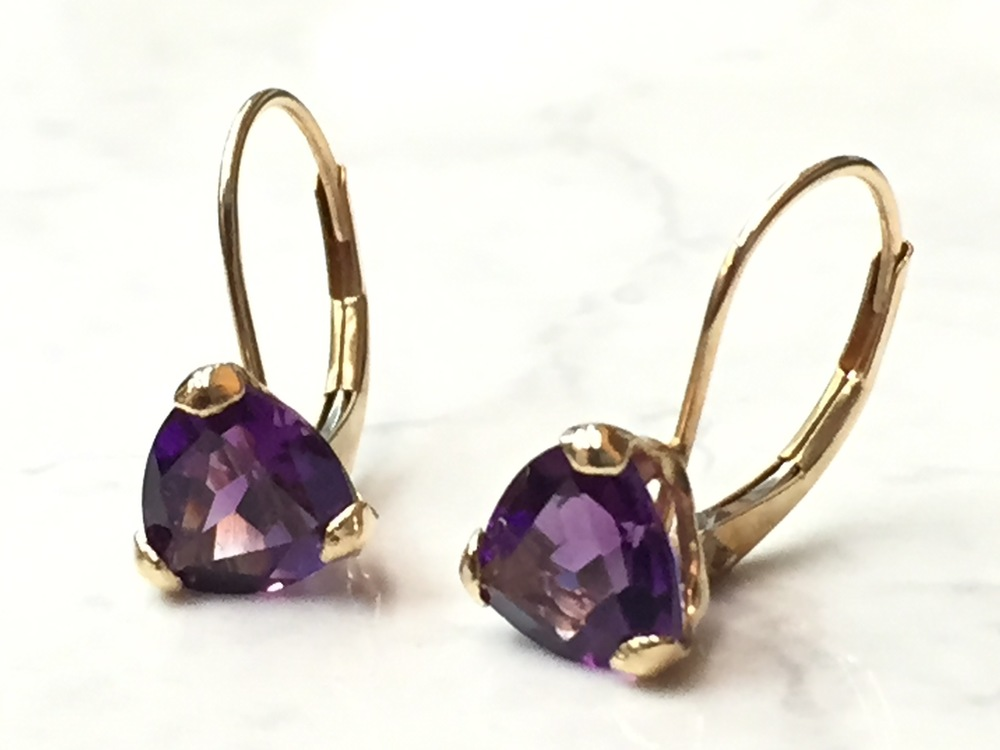Another nice pair of amethyst earrings we have: 14K yellow gold, classic lever-back, on sale for $129.00