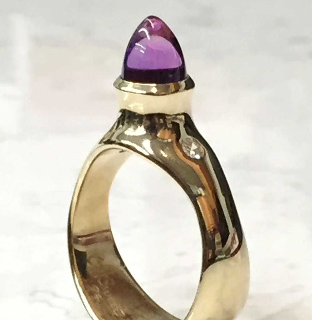 Unique amethyst cone ring with diamond accents, 14K yellow gold, on sale for $799.95, free sizing available