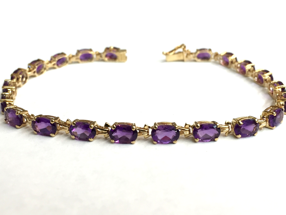 "Classic amethyst bracelet, 14K yellow gold, 7"" length, 4mm width, on sale for $449.95"