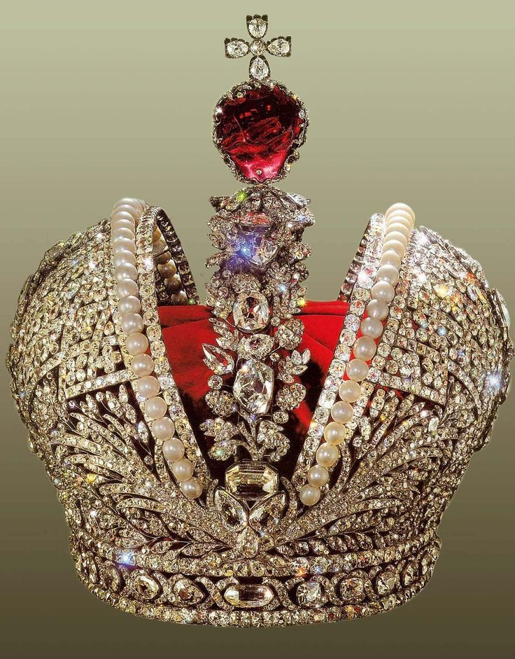 The Russian Imperial Crown is adorned with a red 398.72 carat spinel gemstone.