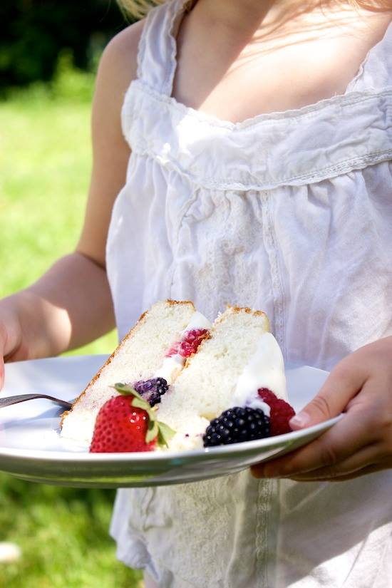 Tender White Cake with Whipped Cream Cheese Cloud Frosting and Berries