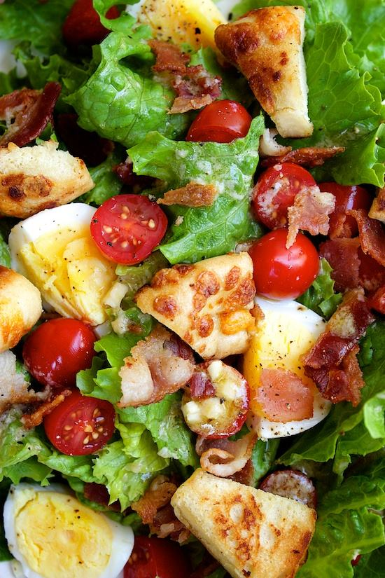B.E.L.T. Salad with Bagel Croutons and Parmesan Vinaigrette