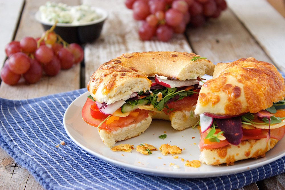 Rainbow Veggie Bagels with Jalapeno Popper Cream Cheese Spread