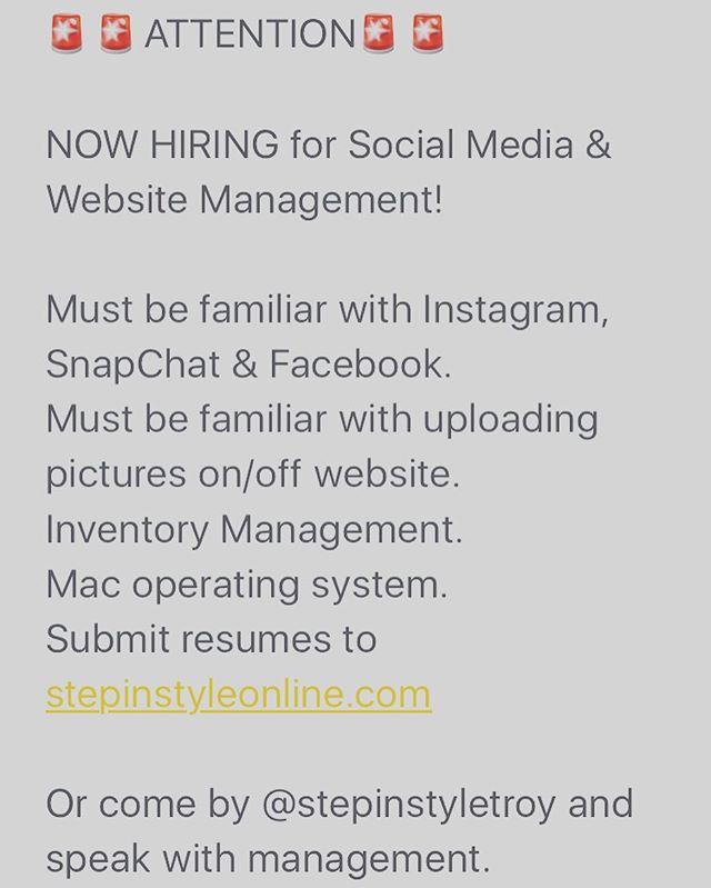 🚨NOW HIRING🚨🚨 @stepinstyletroy  #job #jobs #troy #troyu #alabama  Come by or call (334)670-0105