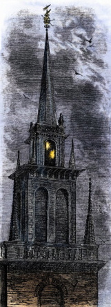 The Old North Church in Boston, lit in 1777.