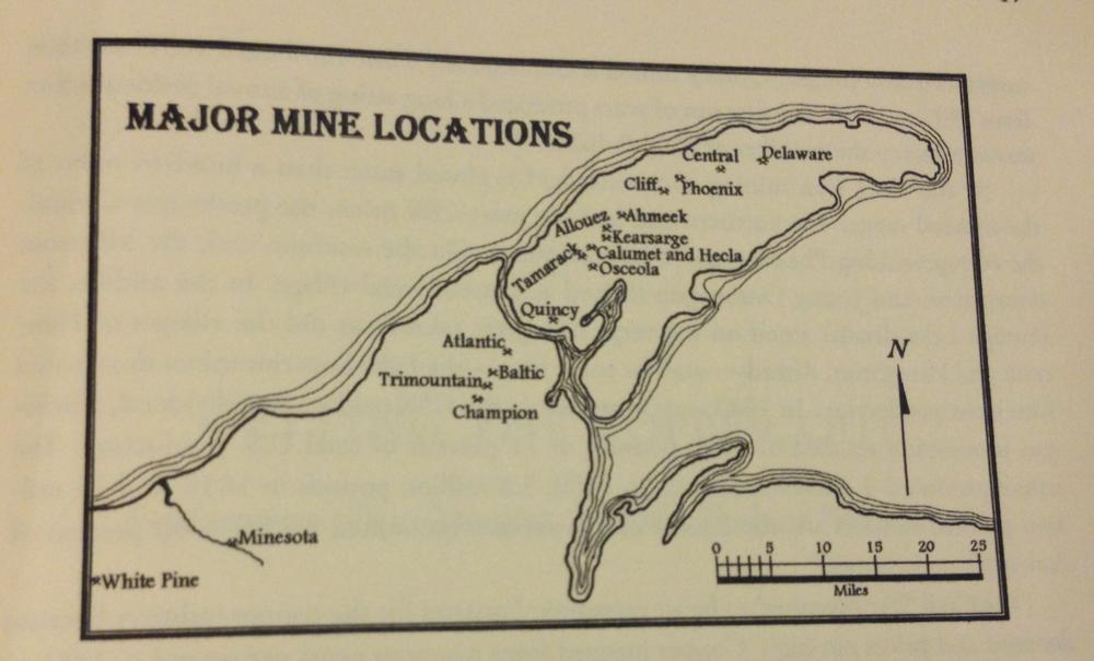 Mine locations on the Keweenenaw Peninsula.