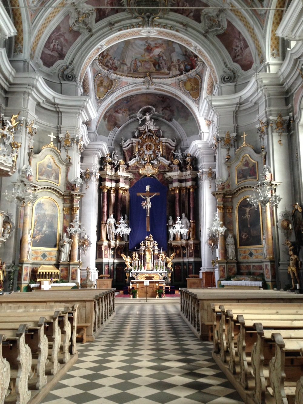 Inside of the church in Toblach.