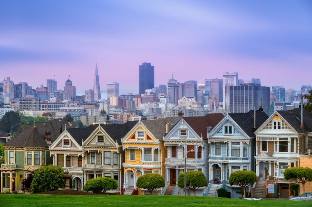 Alamo Square, San Francisco. http://ruthkrishnan.com/sf-alamo-square-neighborhood-feature-the-painted-ladies/